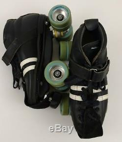 Riedell 265 Speed Roller Skate Shoes Boot Black Size 8 Power Dyne Plate Vintage