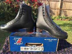 Riedell 297 Mens 5 1/2 Black Top Grain Leather Shearling Tongue Skate Boot