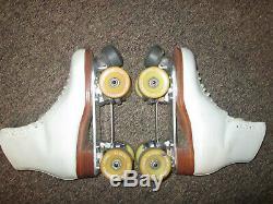 Riedell 355b Wood Snyder Powell Bones Roller Skates 8 White Womens