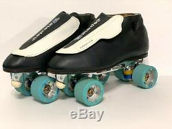 Riedell 395 Black-White Roll-Line Navigator Plates Speed Jam Skates Size 11.5