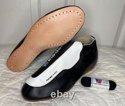 Riedell 395 USA Leather Black White Side Flap Jam Quad Roller Skate Boot 10 A/S