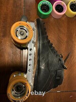 Riedell 595 Roller Derby Quad Speed Skates 7.5 Powerdyne Reactor Plates Wheels