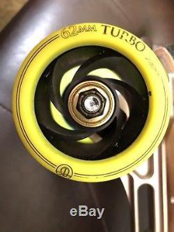 Riedell 595 Speed Skates Powerdyne Arius Roller Bones Turbo Wheels Ceramic 12.5