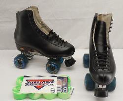 Riedell Black Leather Men Roller Skates Sure Grip Competitor 5R Size 8 + bonus