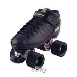 Riedell Black R3 Demon EDM Roller Derby Speed Skates with NEW Black Demon EDM W