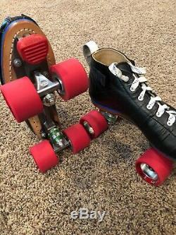 Riedell Blue Streak Roller Derby Speed Skates Mens Size 10. Radar Wheels