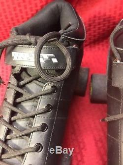 Riedell Carrera Black Sure Grip Quad Speed Roller Skates Size 12