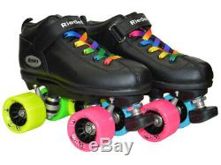Riedell Dart Double Rainbow Quad Roller Derby Speed Skate with Epic Evolve Wheels
