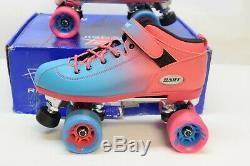 Riedell Dart Ombre Pink Blue Fade Rollerskates Quad Skates Med Width Size 9 Mens