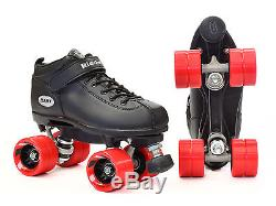 Riedell Dart Quad Roller Derby Speed Skates with 2 Pair of Laces Red & Black