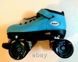 Riedell Dart light blue size 6 Roller Speed Skates 62mm dart wheels size 5 plate