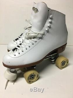 Riedell F 117 White Women's Figure Roller Skates Sz 9 Medium All American Plus