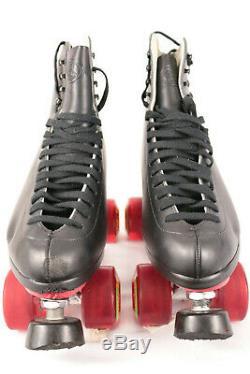 Riedell F-121 Black Indoor Quad Roller Skates 8 1/2 Width M IOB Kryptonics