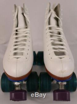 Riedell F-121 White Indoor Quad Roller Skates 7 1/2 Width M IOB Kryptonics