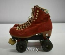 Riedell Moxi Lolly Roller Skates Red Womens Suede Handmade in USA 4 Wheel 7 Med