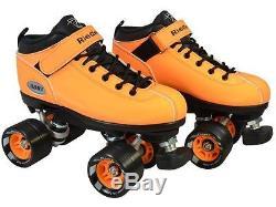 Riedell Orange Neon Dart Quad Roller Derby Skates Size 2