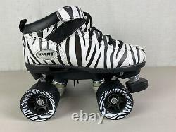 Riedell Quad Dart Roller Skates Womens Size 5 Zebra