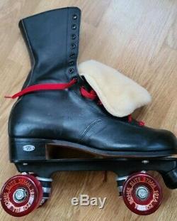 Riedell Quad Rink Skates 172 Black size 8 D Powell Bones Elite Marathon IV Fur