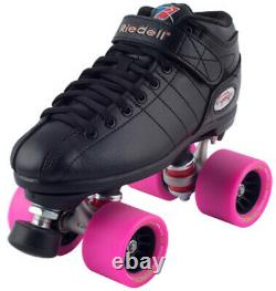 Riedell R3 Back & Pink Quad Roller Derby Speed Skates with EDM Demon Wheels