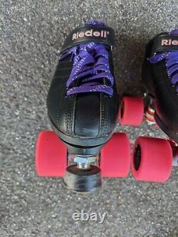 Riedell R3 Cayman Black Roller Derby Quad Speed Skate Sz 8 Complete Starter Set