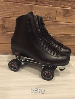 Riedell Raven Men Roller Skates Black Size 10 Rollerbones Team Wheels