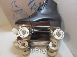 Riedell Red Wing Black Leather Roller Skates All American Plus Wheels Mens 8.5