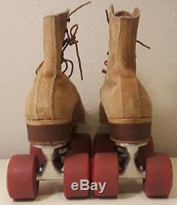 Riedell Red Wings Brown Suede Roller Skates Jogger Trucks Mens Size 9 Excellent