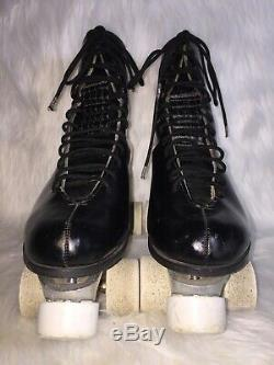 Riedell Roller Skates Black Leather Red Wing SZ 11 M Chicago 77K Vanathane Wheel
