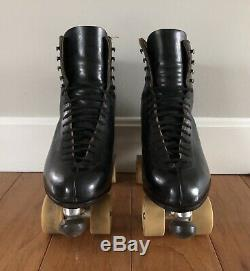 Riedell Roller Skates Blk Leather 10 W Wide Atlas Plates Fafnir 37k Bones 62mm