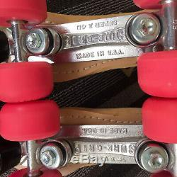 Riedell Roller Skates Men 6 Womens 7/7.5 Tan Leather Sure Grip Platea & Wheels