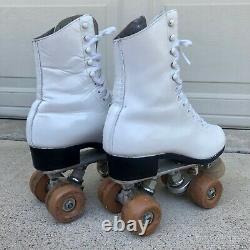 Riedell Roller Skates Mercury Wheels Snyder Plates White Leather Sz 6 Vintage