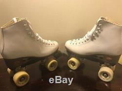 Riedell Roller Skates Women's Size 7 White & Yellow RIVA FREE-STYLE 57MM 95A