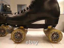 Riedell Roller Speed Skates Sure Grip Blast Wheels PowerDyne Plates Size 9 Nice