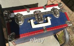 Riedell Sure-Grip Century Plate8 Roller Skates Vtg Black Sz 11 With RWB Metal Case