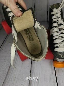 Riedell Sure Grip Invader 3 Vintage Roller Skates SZ 5 Fugitive Wheels B&W