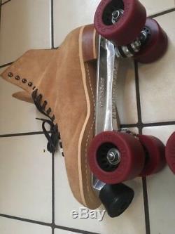 Riedell Tom Peterson Light Beige Mens Vintage Roller Skates USA Made Size 13