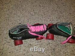 Riedell USA Black Leather Roller Speed Skates Vintage Women's 7/8 rare pink red