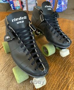 Riedell USA RS-1000 Speed Roller Skates Mens 10.5 Womens 12 Black Low Top