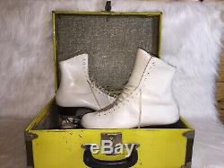Riedell White Leather Roller Skates Sure Grip Wheels Womens 8 WithCase 220 Model