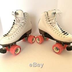 Riedell White Quad Roller Skates Womens Size 9.5 W Wide Model 120