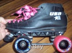 Riedell Womens Derby Roller Skates Pink Black Cosmic Wheels WFTDA USA Size 6