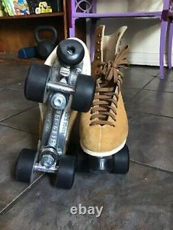 Riedell Womens Diva Size 8 Mens Size 7 Brown Suede, Sure Grip Plate, Wood