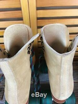 Riedell Womens Vintage Roller Skates Tan Suede Sz 5 EXCELLENT COND