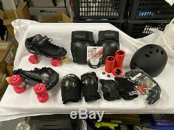 Roller Derby Pack Riedell R3 Black Quad Speed Skates pads helmet SZ 9