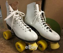 Roller Skates Riedell Red Wing MN. USA White Leather SZ 8 Womens withBox Vintage