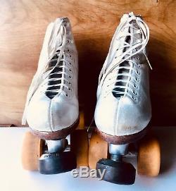 Snyders Super Deluxe White Roller Skates Size 4y Riedell Boot Hyper Dance Wheels