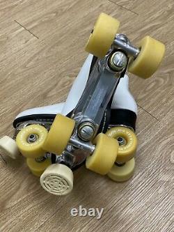 Sure-Grip Riedell Roller Skates Size 7 White Powell Bones 57mm Wheels