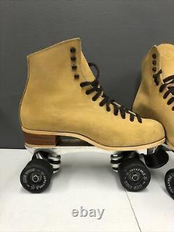 Tan Suede Roller Skates Riedell Sure Grip Super X7L Sure Grip Wheel 57mm Sz 10 W