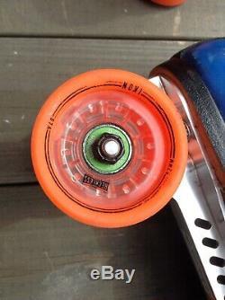 Used Riedell Blue 911 Roller Skates 9.5 9 1/2 Powerdyne Revenge Reckless Ikon