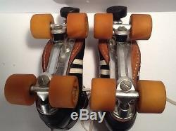 VINTAGE RIEDELL size 7 LEATHER BLACK ROLLER SKATES SURE GRIP PLATES zinger wheel